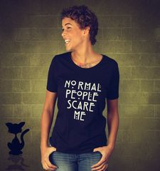 Damen T-Shirt Normal People Scare Me