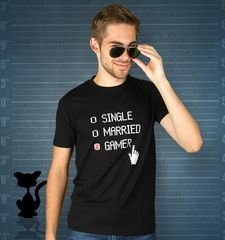 Herren T-Shirt Single Married Gamer