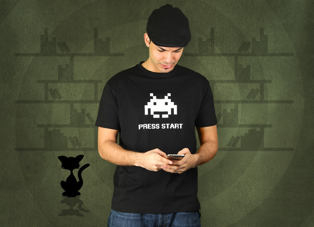 Herren T-Shirt 8Bit Press Start