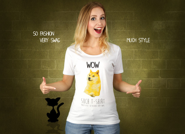 Damen T-Shirt Doge Meme - Wow Such T-Shirt
