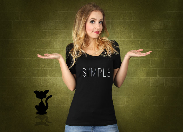 Damen T-Shirt Einfach Simple