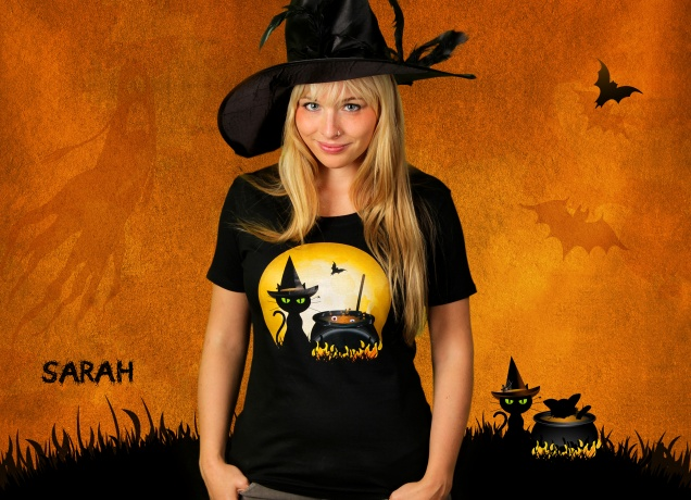 Damen T-Shirt Halloween Cooking
