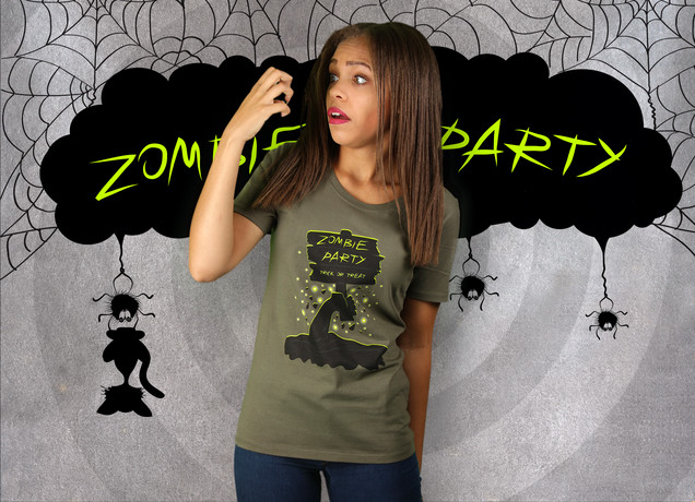 Damen T-Shirt Halloween Zombie Party
