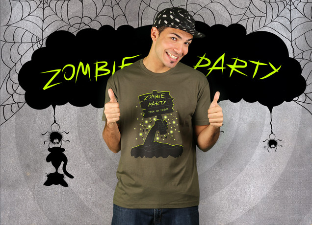 Herren T-Shirt Halloween Zombie Party