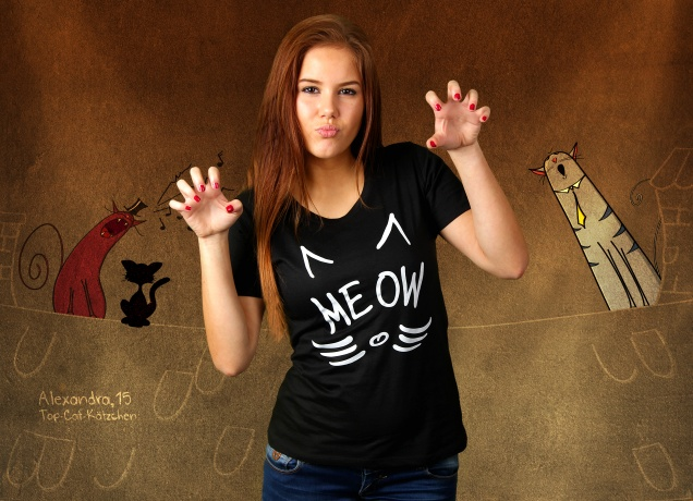 Damen T-Shirt Meow You There