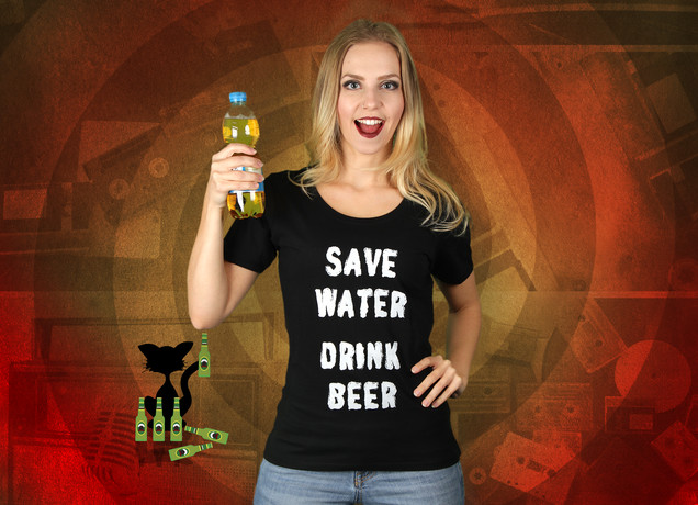 Damen T-Shirt Save Water Drink Beer