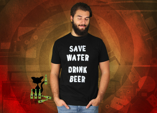 Herren T-Shirt Save Water Drink Beer
