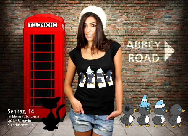 Damen T-Shirt The Penguine Abbey Road