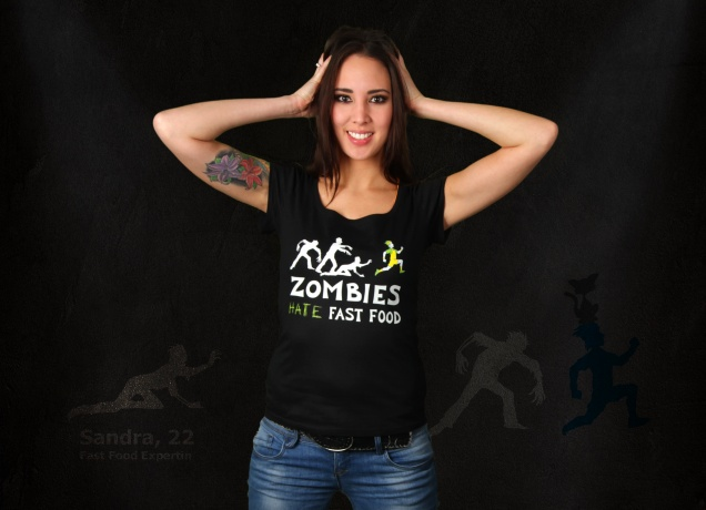 Damen T-Shirt Zombies Hate Fast Food